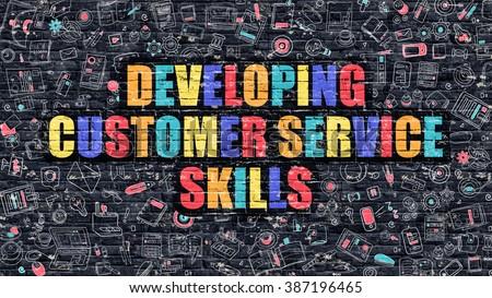 Multicolor Customer Service on Dark Brickwall. Doodle Style. Stock photo © tashatuvango