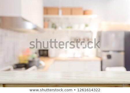 turva · imagem · interior · da · cozinha · interior · branco · cozinha - foto stock © artjazz