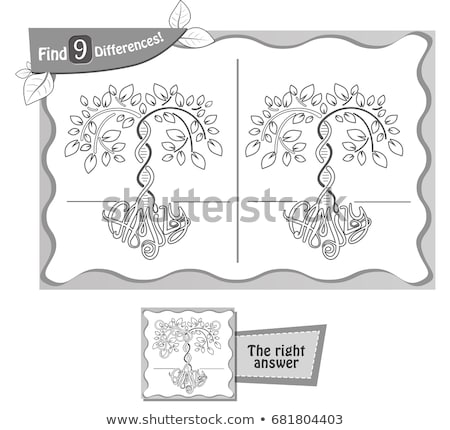 find 9 differences tree game black  Stock photo © Olena
