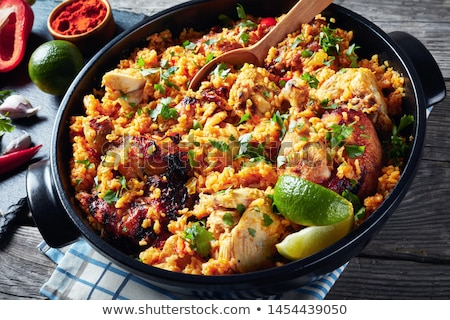 Stock photo: saucepan of red rice