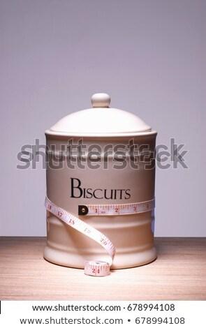 Galleta jar cinta métrica alrededor alimentos cookie Foto stock © IS2