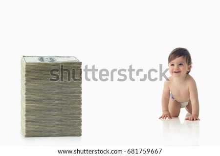 Baby crawling towards pile of money Stock photo © IS2