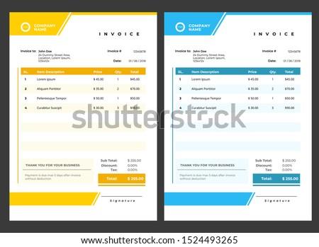 blue modern invoice template design Stock photo © SArts