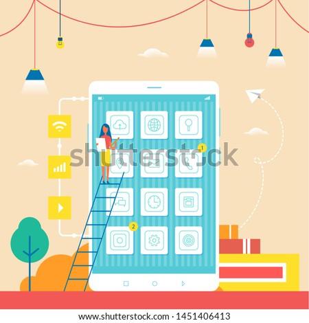 Smartphone commerciële klein vrouw ladder groot Stockfoto © robuart