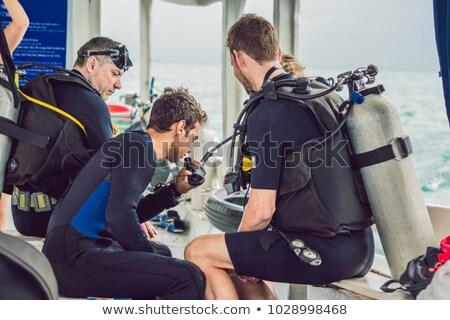 Plongeur plongée mer visage sport bleu Photo stock © galitskaya