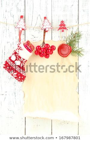 Karácsonyi üdvözlet zokni akasztás fal illusztráció papír Stock fotó © colematt