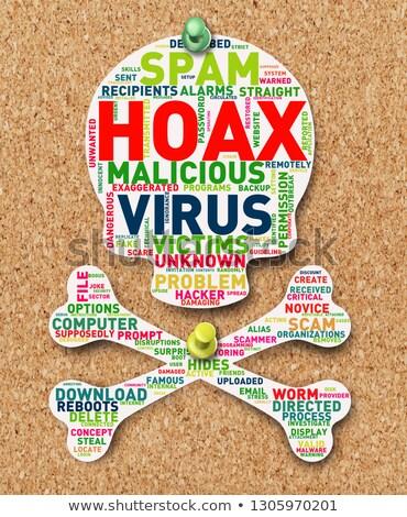 Skull head hoax wordcloud tag on cork notice board Stock photo © nasirkhan