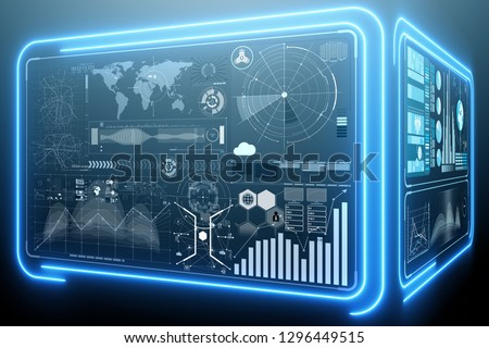 Abstract data room with futuristic design - 3d rendering Stock photo © Elnur
