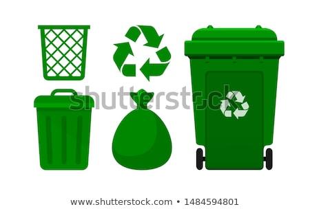 зеленый мусорное ведро белый мусор корзины контейнера Сток-фото © magraphics