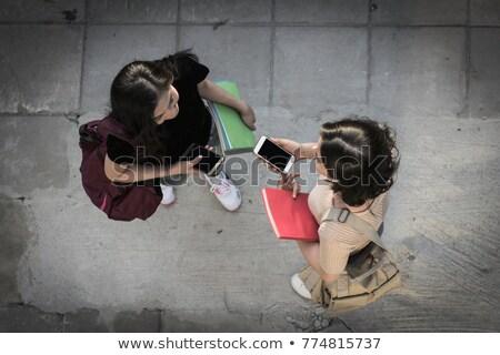Öğrenciler · eğitim · oturma · çim · park · mutlu - stok fotoğraf © deandrobot