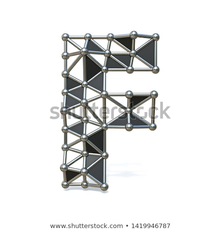 Wire low poly black metal Font Letter F 3D Stock photo © djmilic