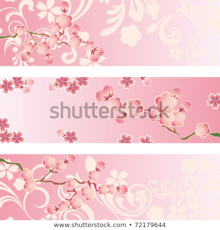 New Year's plum flower cute decoration set Stock photo © Blue_daemon