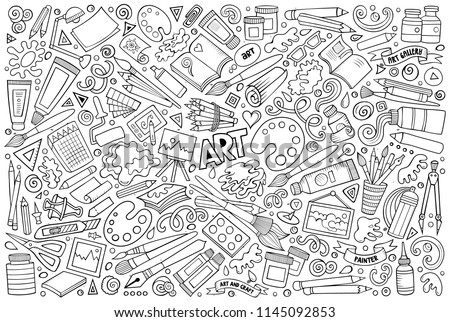 Line art vector doodles cartoon set of Designer combinations of objects Stock photo © balabolka