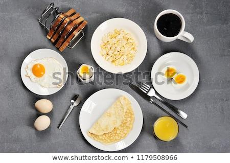 Sahanda yumurta yalıtılmış gri gıda mutfak akşam yemeği Stok fotoğraf © SArts