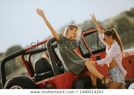 Two young women having fun on hood of a car by the lake Stock photo © boggy