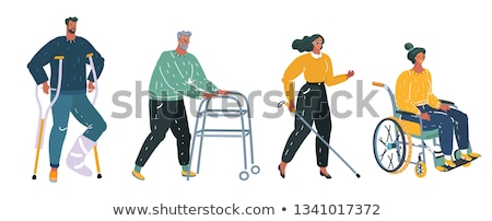 Man Helping Blind Woman with Stick to Walk Vector Stock photo © robuart