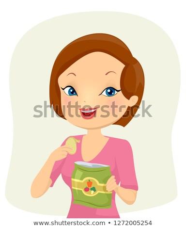 Kız yemek vegan cips örnek Stok fotoğraf © lenm