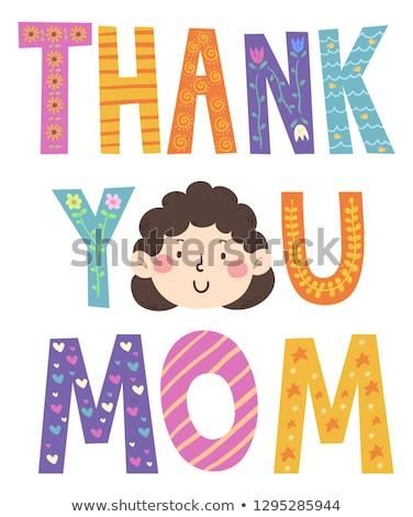 Köszönjük anya arc illusztráció nő mosolyog család Stock fotó © lenm