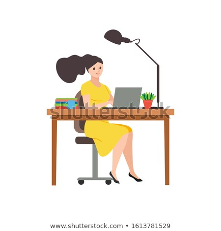 Business woman in yellow dress, sitting on a chair at a table, o Stock photo © cosveta