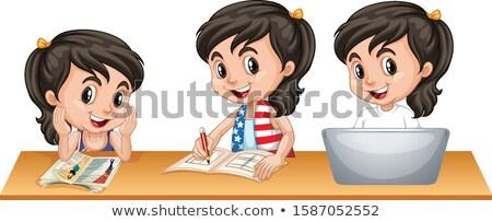 Meisje blij gezicht drie verschillend spullen tabel Stockfoto © bluering