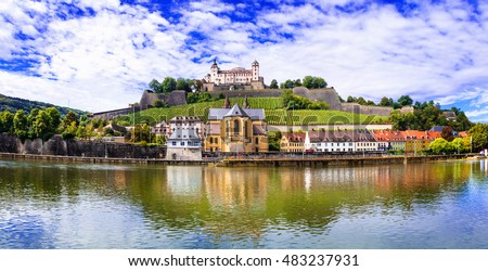 Old town of Wurzburg view from the vineyard hill Stock photo © xbrchx