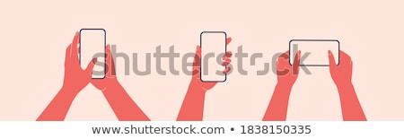 Smartphone ludzka ręka sms wiadomość wysłać Zdjęcia stock © karetniy