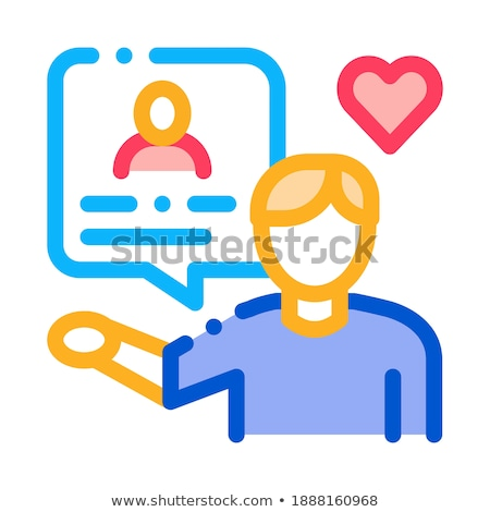 Gesprek een icon vector schets illustratie Stockfoto © pikepicture