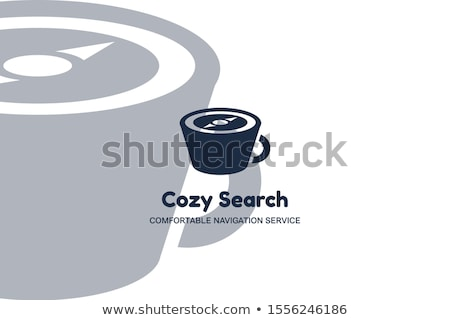 Cup with Compass Cozy Search Multimedia Style Logo Stock photo © barsrsind