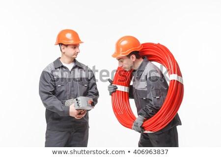 Mannelijke loodgieters tools tijd mobiele telefoon zie Stockfoto © photography33