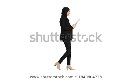young smiling business woman with tablet computer isolated on w stock photo © dacasdo