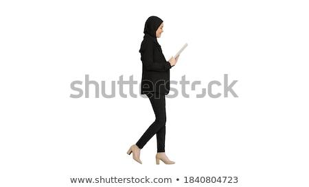 Jovem sorridente mulher de negócios isolado branco Foto stock © dacasdo