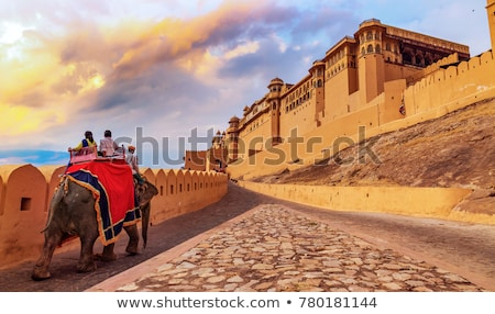 âmbar forte textura parede laranja castelo Foto stock © meinzahn