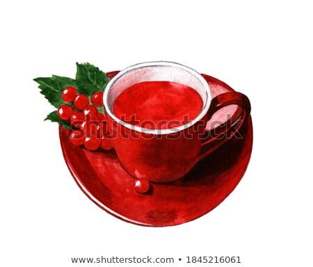 Fincan içmek kırmızı olgun çay ahşap masa Stok fotoğraf © ryhor