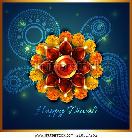 Beautiful Decorative Diwali Diya Artistic Design Vector Stockfoto © PinnacleAnimates