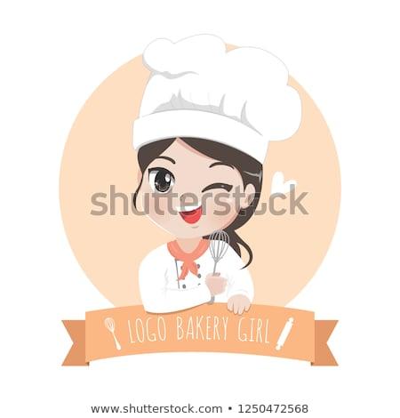meisje · cake · illustratie · cute · meisje - stockfoto © loopall