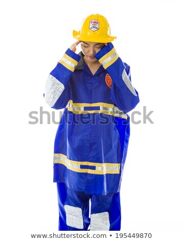 Lady firefighter suffering from headache Stock photo © bmonteny