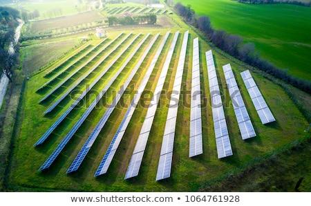 painéis · solares · campo · céu · grama · tecnologia - foto stock © alex_grichenko