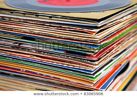 öreg · bakelit · lemezek · köteg · közelkép · különböző - stock fotó © hofmeester