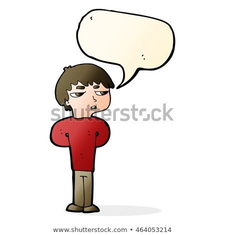cartoon antisocial boy with speech bubble Stock photo © lineartestpilot