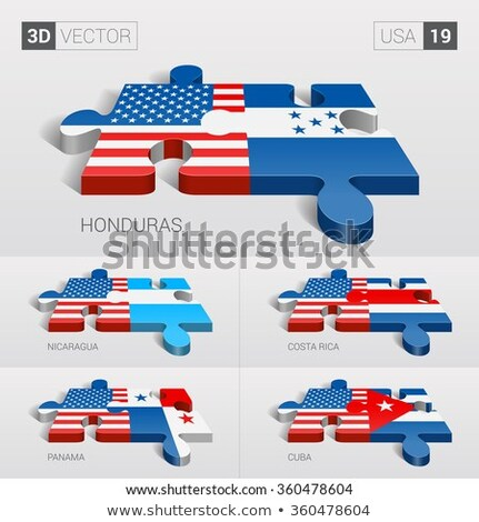 usa and honduras flags in puzzle stock photo © istanbul2009
