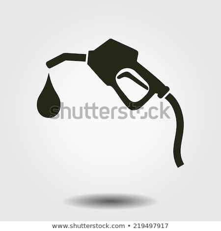 Zöld benzinpumpa ikon illusztráció fehér felirat Stock fotó © nickylarson974