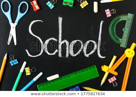 Szavak vissza az iskolába írott kréta iskola iskolatábla Stock fotó © tetkoren