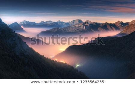 brouillard · vallée · été · matin · au-dessus · rivière - photo stock © Kotenko