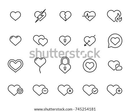 ludzi · serca · line · ikona · wektora · odizolowany - zdjęcia stock © rastudio