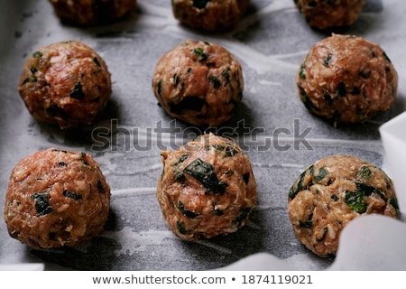 freshly made meatballs ready for cooking stock photo © tab62