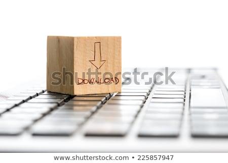 vert · téléchargement · bouton · clé - photo stock © oakozhan