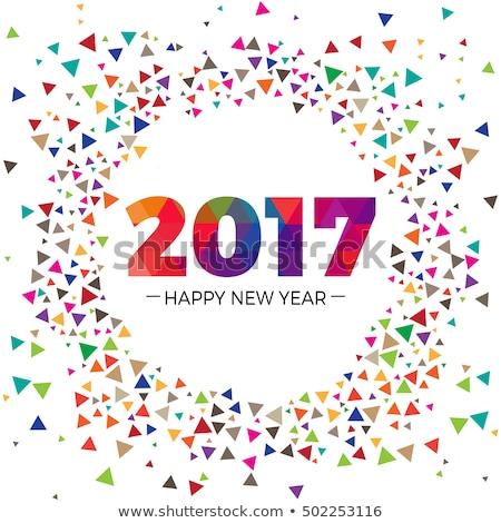 Soyut happy new year metin stil dizayn parti Stok fotoğraf © rioillustrator