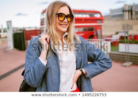 интеллектуальный · женщину · очки · улыбаясь · привлекательный - Сток-фото © deandrobot