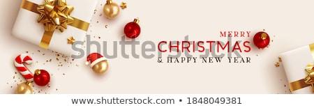 Joyeux Noël or carte de vœux rouge babiole Photo stock © fresh_5265954