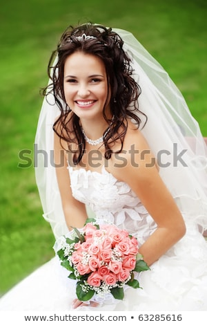 美しい 花嫁 ポーズ ヘアスタイル ドレス 結婚式 ストックフォト © dmitriisimakov